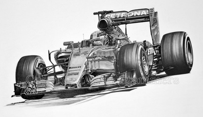 No.44 Lewis Hamilton Triple World Champion 2015 Print For Sale